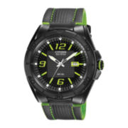 Citizen® Eco-Drive® Mens Black Leather Strap Watch AW1385-11H