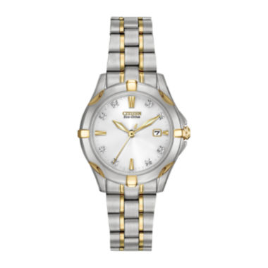 jcpenney.com | Citizen® Eco-Drive® Womens Diamond-Accent Two-Tone Stainless Steel Watch EW1934-59A