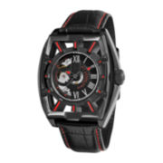 Stührling® Mens Leather Strap Red Accent Automatic Skeleton Watch