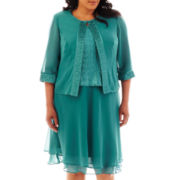 Dana Kay Satin-Trim Georgette Skirt Suit With Blouse