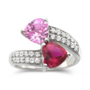 Lab-Created Ruby and Pink and White Sapphire Bypass Ring