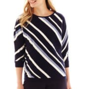 Liz Claiborne® 3/4 Dolman-Sleeve Diagonal-Striped Sweater - Petite