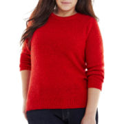 St. John's Bay® Marled Crewneck Sweater - Plus