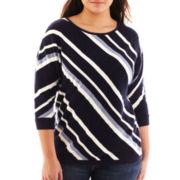 Liz Claiborne Dolman-Sleeve Diagonal-Striped Sweater - Plus