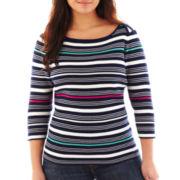 Liz Claiborne 3/4-Sleeve Ribbed Striped Sweater - Plus