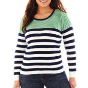 Liz Claiborne Long-Sleeve Ribbed Striped Sweater - Plus
