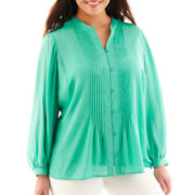 Liz Claiborne Pintuck Blouse with Cami - Plus