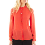 Worthington® Long-Sleeve Button-Front Blouse with Cami - Petite