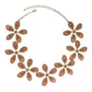 Jardin Brown Gold-Tone 3D Flower Necklace