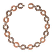 Jardin Brown Pavé Stone Gold-Tone Link Collar Necklace