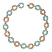 Jardin Aqua Pavé Glass Gold-Tone Link Collar Necklace