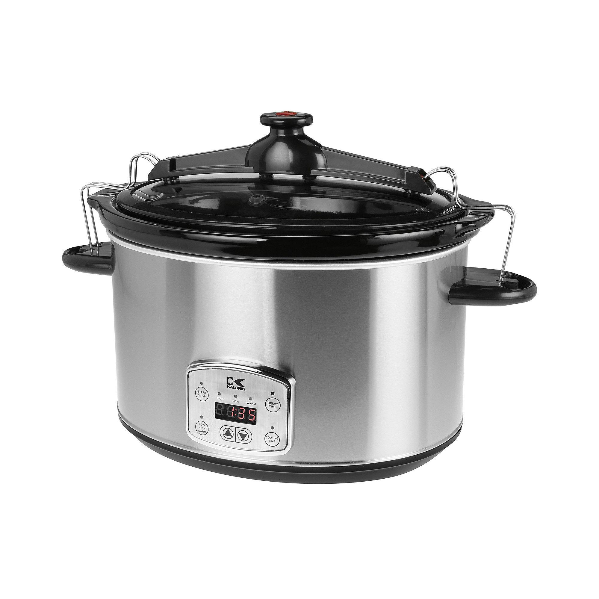 Kalorik 8-qt. Stainless Steel Digital Slow Cooker with Locking Lid