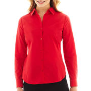 Worthington® Essential Long-Sleeve Button-Front Shirt - Petite