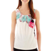 Worthington® Sleeveless Zip-Neck Pleated Top - Tall