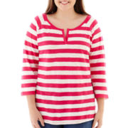 Arizona 3/4-Sleeve Striped Tee - Plus