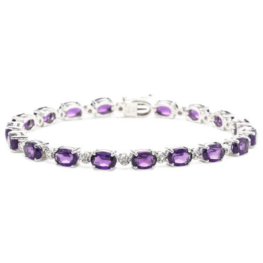 jcpenney.com | Lab-Created Amethyst & Diamond-Accent Sterling Silver Bracelet