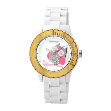 jcpenney.com | Sprout® Womens White Strap Mother-of-Pearl Eco-Friendly Owl Watch