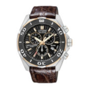 Citizen® Signature Courageous Mens Brown Leather Strap Chronograph Watch BL5446-01E