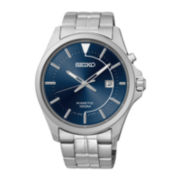 Seiko® Mens Silver-Tone Stainless Steel Band Kinetic Watch