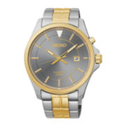 Seiko® Mens Two-Tone Stainless Steel Band Kinetic Watch