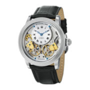 Stührling® Mens Silver-Tone Skeleton Inset-Dial Automatic Watch