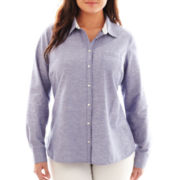 jcp™ Eyelet Shirt - Plus