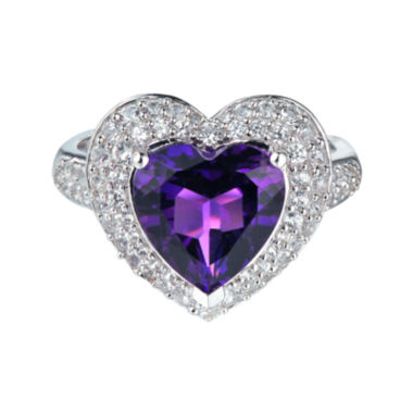 jcpenney.com | Lab-Created Amethyst & White Sapphire Heart Ring