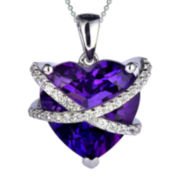 Lab-Created Amethyst and White Sapphire Wrapped Heart Pendant Necklace