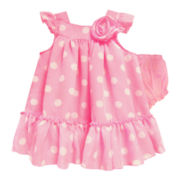 Marmellata Polka Dot Chiffon Pinafore Dress - Girls 12m-6y