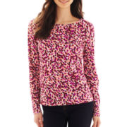 Liz Claiborne Long-Sleeve Print Knit Top - Petite