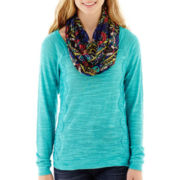 Self Esteem® Long-Sleeve Lace-Panel Sweatshirt with Scarf