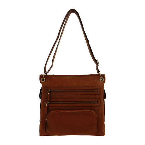Bueno of California Veg Tan Triple Zip Crossbody