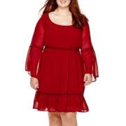 Love Reigns Bell-Sleeve Ruffle Dress