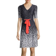 R&K Originals® Elbow-Sleeve Dot Print Fit-and-Flare Dress