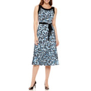 Perceptions Sleeveless Abstract Print A-Line Dress