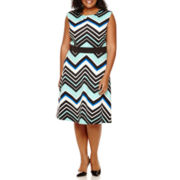 Studio 1® Sleeveless Chevron Print Scuba Fit-and-Flare Dress - Plus