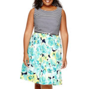 R&K Originals® Sleeveless Striped-Bodice Floral Print Skirt Fit-and-Flare Dress - Plus