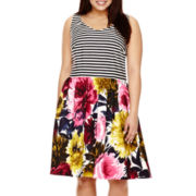 Katherine H® Sleeveless Striped Floral Scuba Fit-and-Flare Dress - Plus