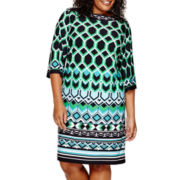 Studio 1® 3/4-Sleeve Geometric Print Sheath Dress - Plus