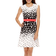 Studio 1® Sleeveless Dot Print Fit-and-Flare Dress - Petite