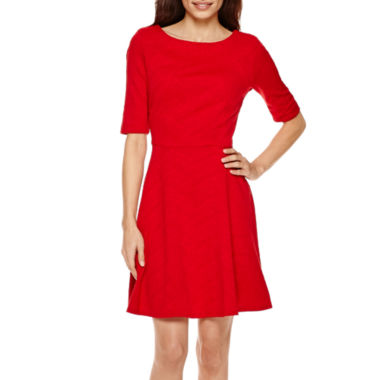 jcpenney.com | Danny & Nicole® Elbow-Sleeve Wavy Knit Fit-and-Flare Dress - Petite