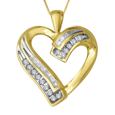 jcpenney.com | 1/5 CT. T.W. Diamond 10K Yellow Gold Heart Pendant Necklace