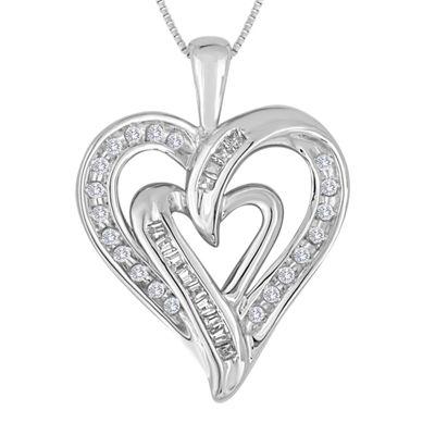 15 ct tw diamond 10k white gold double heart pendant necklace tw diamond 10k white gold double heart pendant necklace aloadofball Choice Image