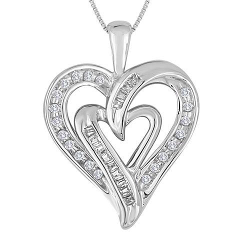 1/5 CT. T.W. Diamond 10K White Gold Double Heart Pendant Necklace