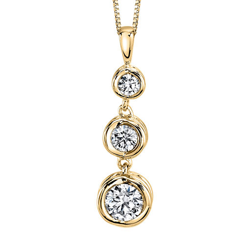Sirena® 1/3 CT. T.W. Diamond 14K Yellow Gold Pendant Necklace