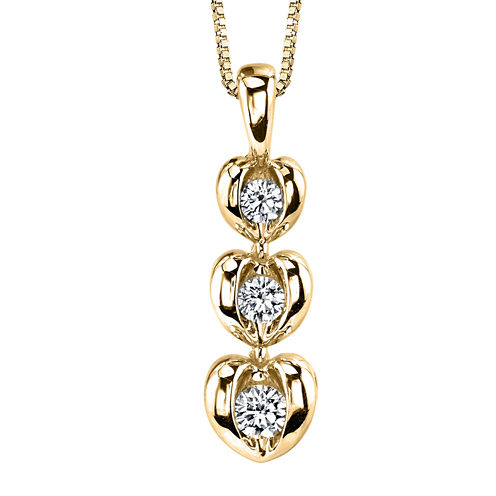 Sirena™ 1/8 CT. T.W. Diamond 14K Yellow Gold Heart Pendant Necklace