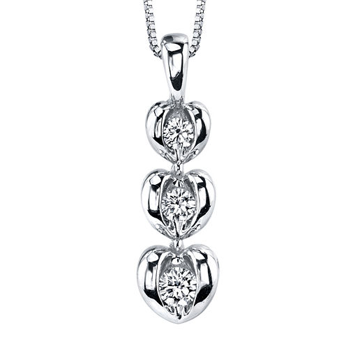 Sirena® 1/8 CT. T.W. Diamond 14K White Gold Heart Pendant Necklace