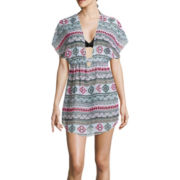 Arizona Dolman-Sleeve Aztec Striped Chiffon Swim Cover-Up - Juniors