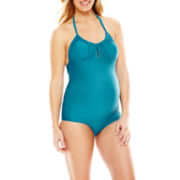 Spencer® One-Piece Halter Swimsuit - Maternity