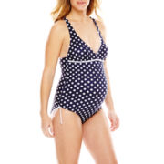 Spencer® Dot Print Shirred Side One-Piece Halter Swimsuit - Maternity